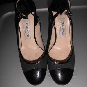 Jimmy Choo Black Canvas/Patent Slingback Heels